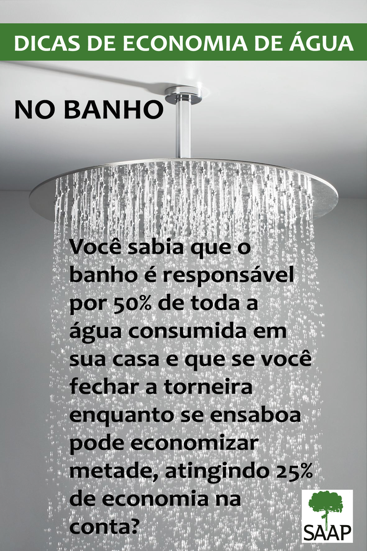 Banho: o maior vilão no consumo de água – SAAP #3C7930 1181 1772